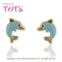 18k Yellow Gold Fun Loving Blue Dolphin Button Earrings